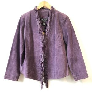 Vintage Dialogue Purple Fringed Suede Jacket